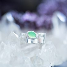 Chrysoprase, Green Ring, Silver Jewellery, Violet Gray
