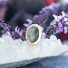 Labradorite Ring, Mystical One, Violet Gray