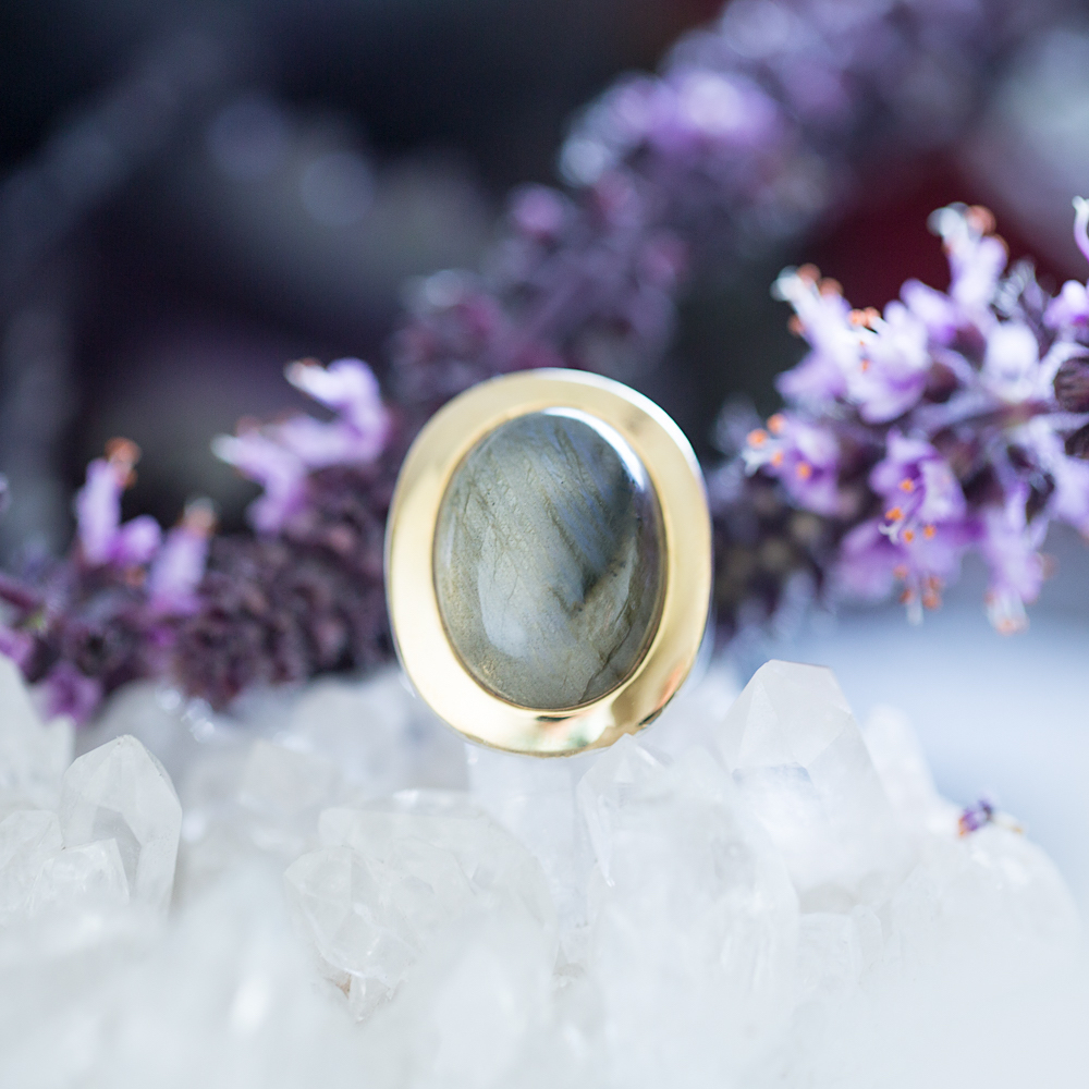 Labradorite Ring, Mystical One, Violet Gray