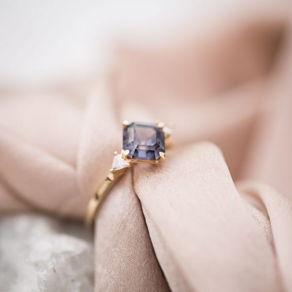 Spinel Gold Ring, Diamond Engagement Ring, Online Jewellery