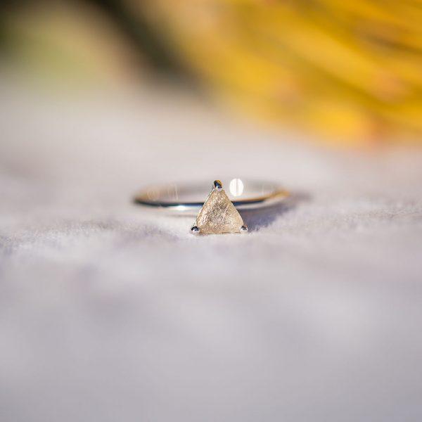 Natural Diamond Ring, White Gold, Violet Gray