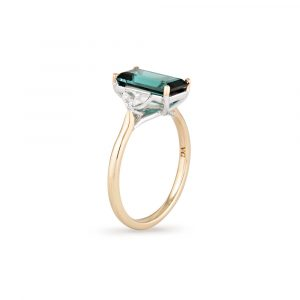 Green Tourmaline Diamond Ring