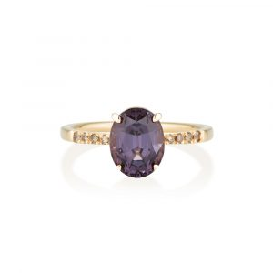 Purple Spinel Diamond Ring