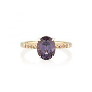Purple Spinel Diamond Ring