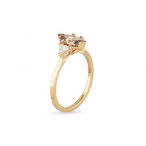Zircon Diamond Gold Ring