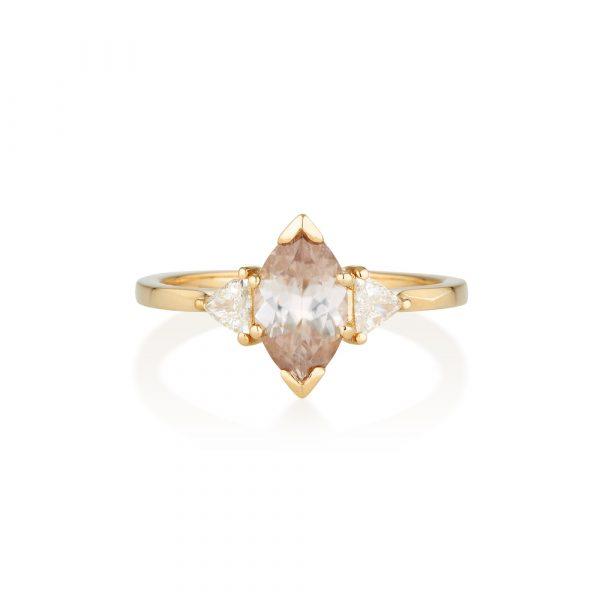 Zircon Diamond Gold Ring