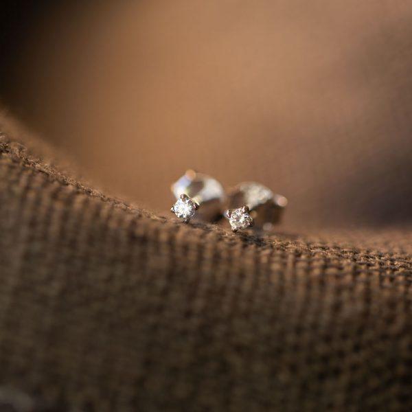 Diamond Silver Stud Earrings